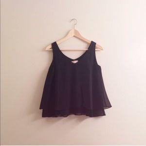 black sleeveless top